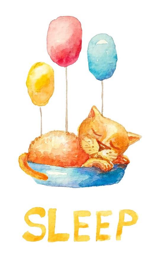 Gatito amarillo del ute del ¡de Ð que duerme en una cesta azul ilustración del vector