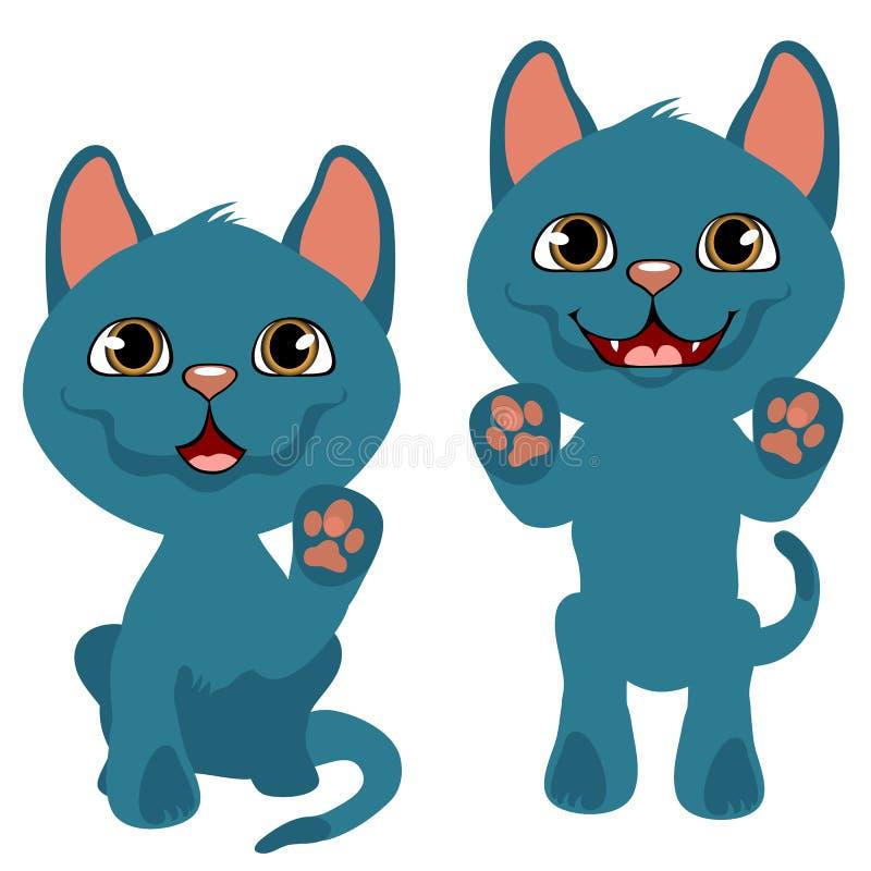 Gatito azul juguetón alegre, animales domésticos de la historieta del vector libre illustration