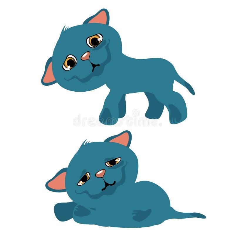 Gatito azul triste, animación de la historieta del vector stock de ilustración