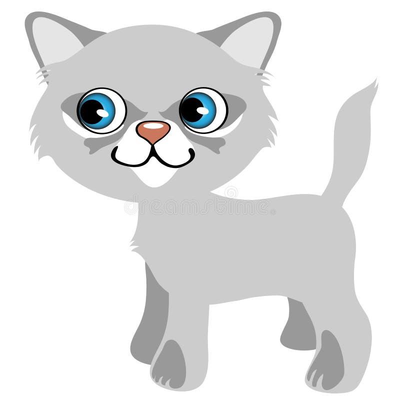 Gatito bastante gris con los ojos azules, animal doméstico de la historieta ilustración del vector
