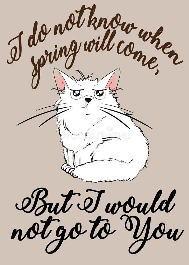 Gatito blanco descontento stock de ilustración