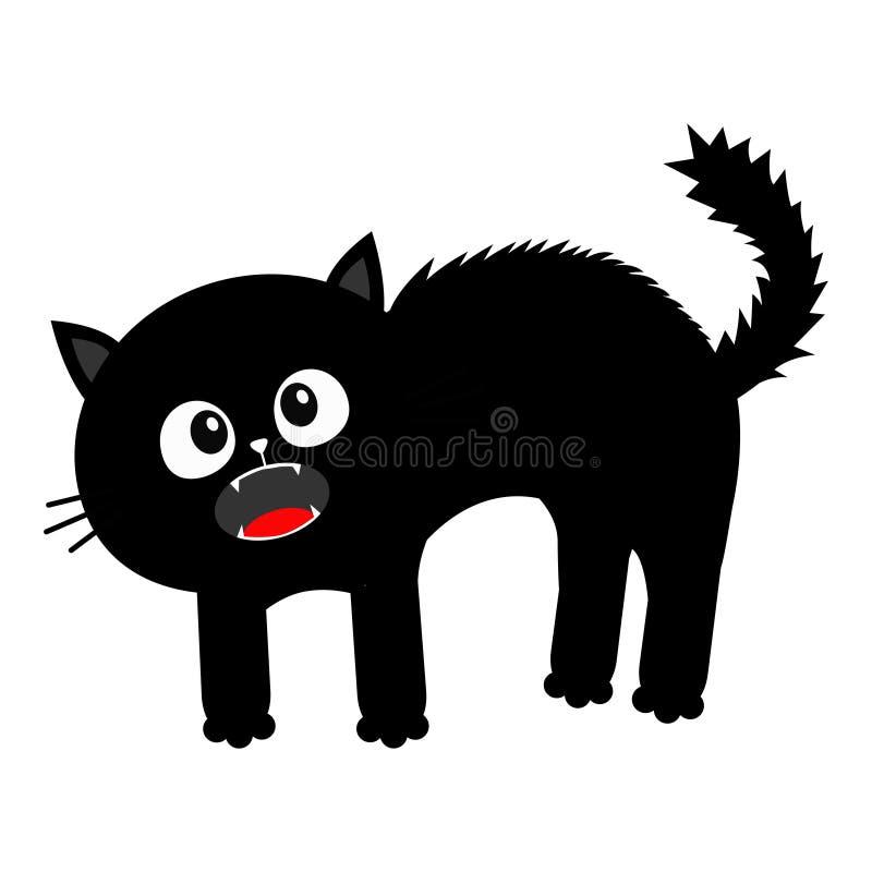 Gatito de griterío Parte posterior asustada del arco del gato La piel del pelo se coloca en extremo Ojos, colmillos, barba de los ilustración del vector