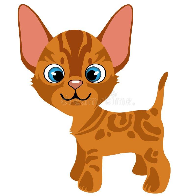 Gatito del jengibre de la historieta con los ojos azules, animales domésticos del vector stock de ilustración