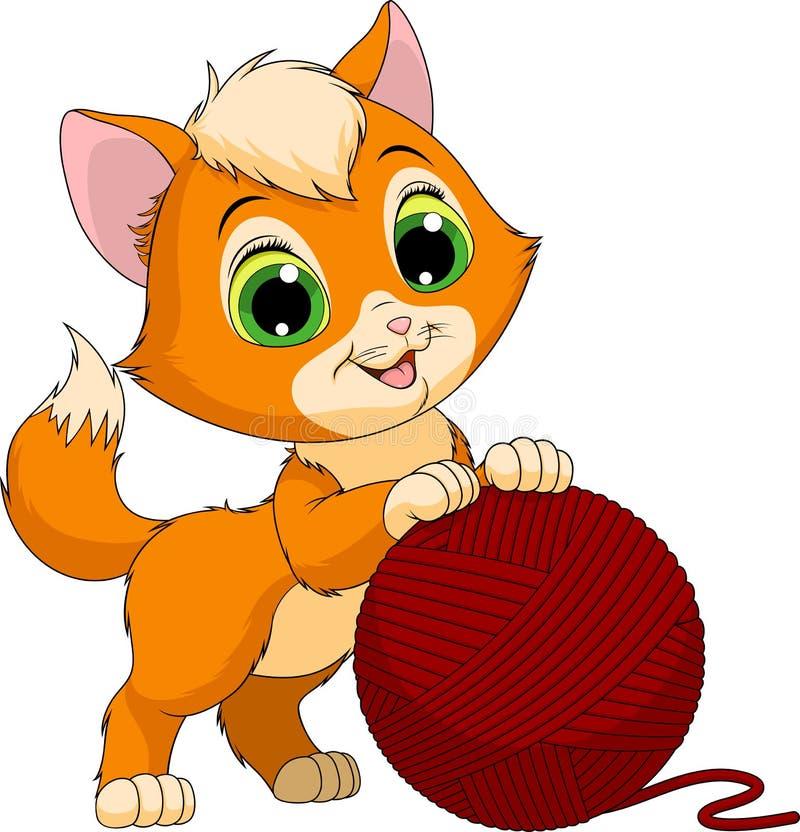 Gatito divertido con una bola de hilos ilustración del vector