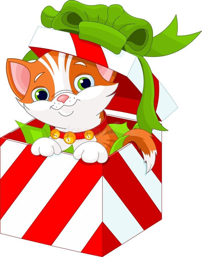 Gatito en un rectángulo de regalo de la Navidad stock de ilustración