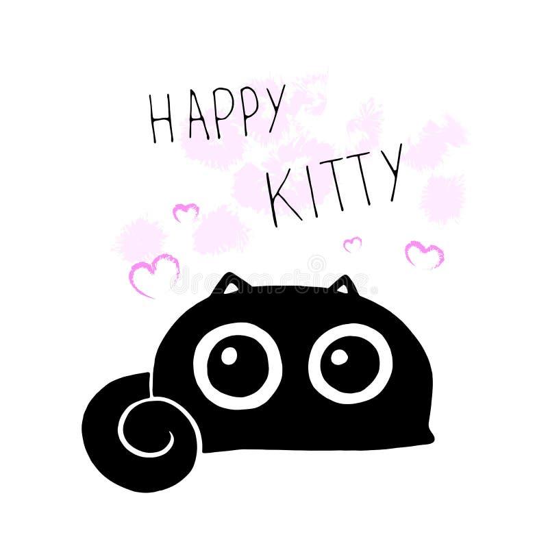 Gatito feliz Ejemplo divertido del vector de la historieta de la historieta con el gato negro lindo, los elementos decorativos y  libre illustration