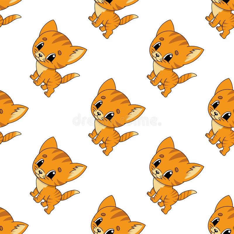 Gatito feliz Modelo incons?til coloreado con el personaje de dibujos animados lindo Ejemplo plano simple del vector aislado en el stock de ilustración