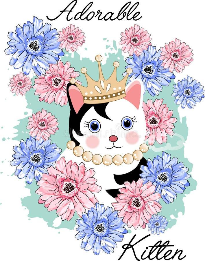 Gatito lindo adorable stock de ilustración
