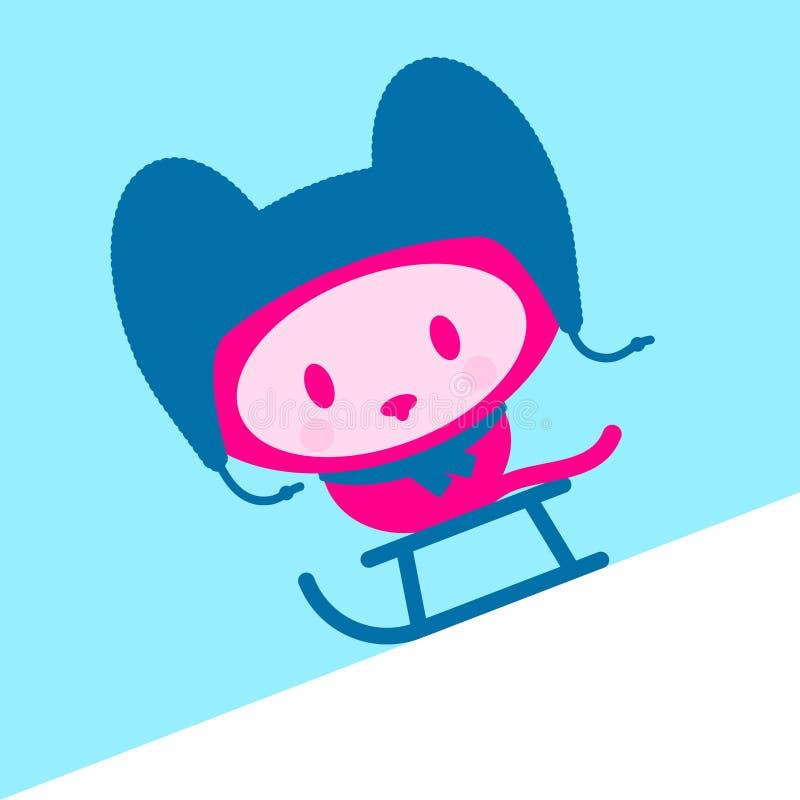Gatito lindo con el casquillo y la bufanda en el trineo ilustración del vector
