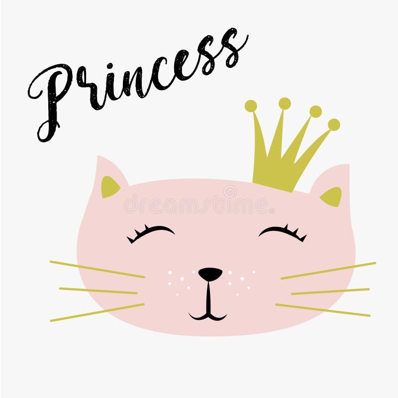 Gatito lindo con pequeña princesa Vector de la corona y de la inscripción ilustración del vector
