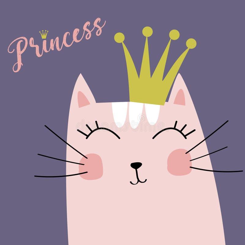 Gatito lindo con pequeña princesa Vector de la corona y de la inscripción stock de ilustración