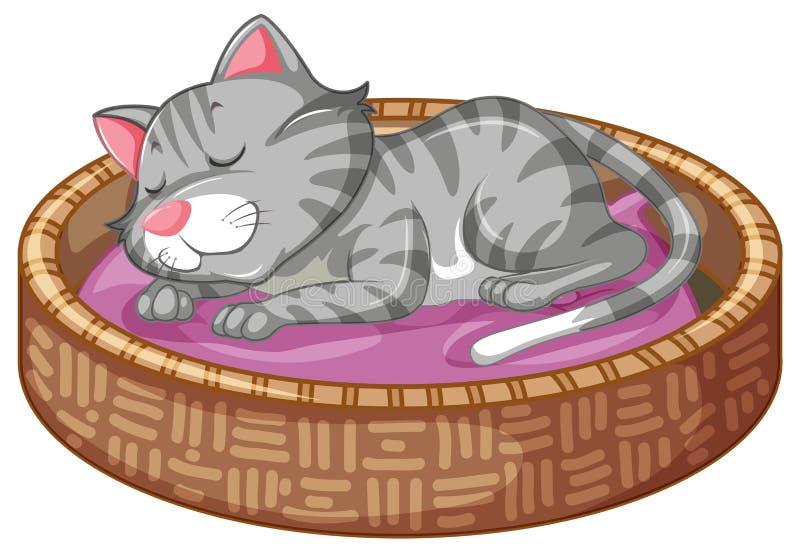 Gatito lindo en cesta libre illustration