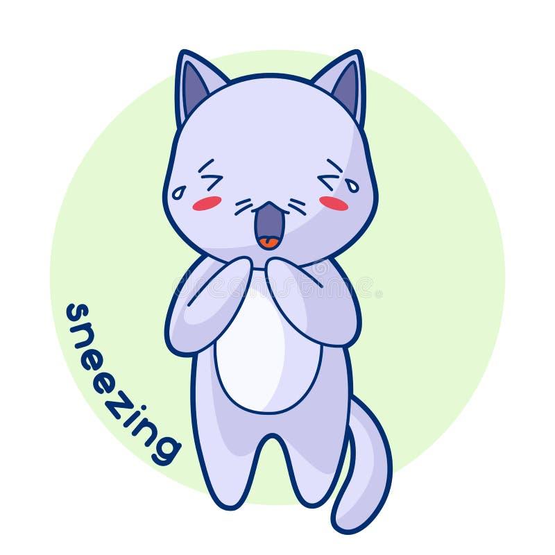 Gatito lindo enfermo de estornudo Ejemplo del gato del kawaii stock de ilustración