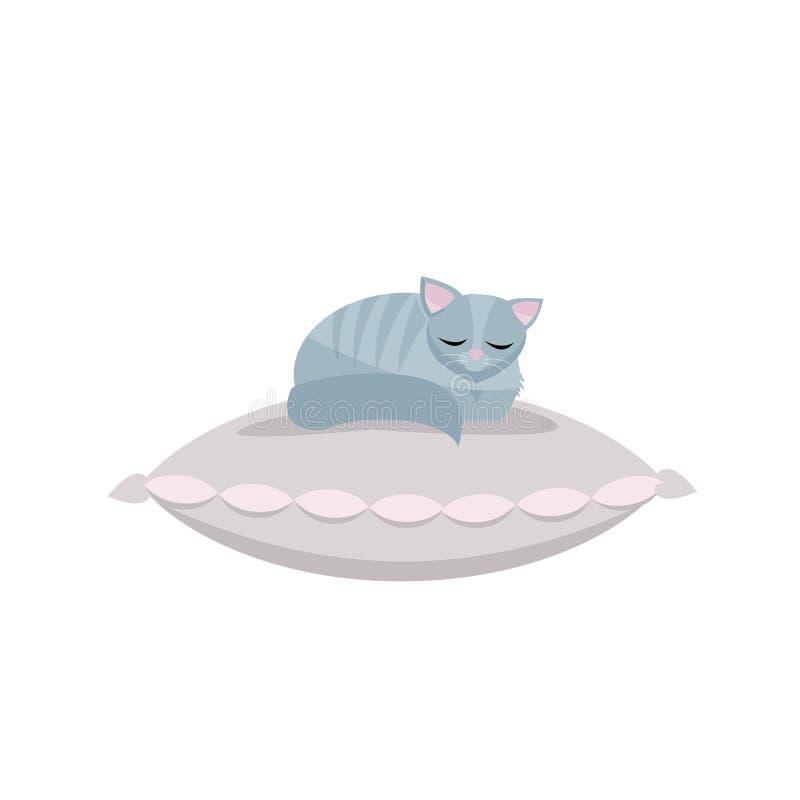 Gatito lindo que duerme en la almohada rosa clara Ejemplo del vector de la historieta del cospel animal para la impresión de la c stock de ilustración