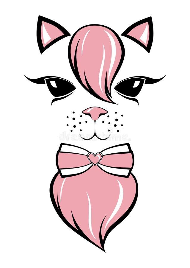 Gatito precioso con explosiones rosadas ilustración del vector