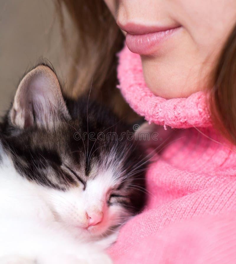 Gatito que duerme en el pecho de la muchacha imágenes de archivo libres de regalías
