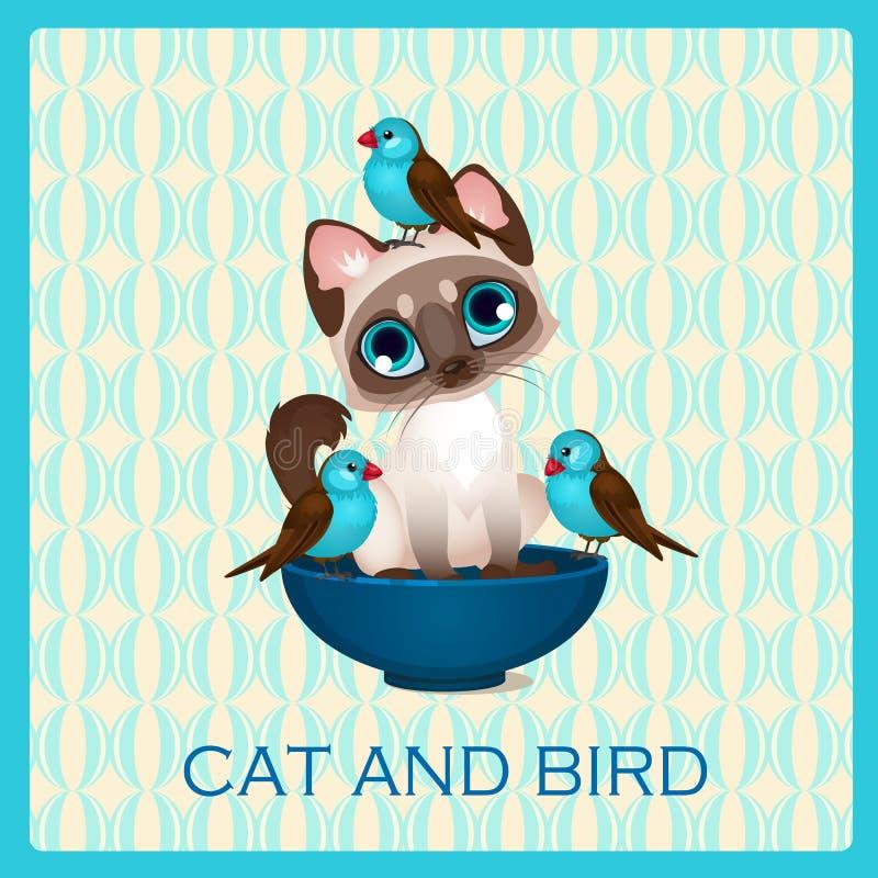 Gatito y pájaros lindos en la taza azul ilustración del vector