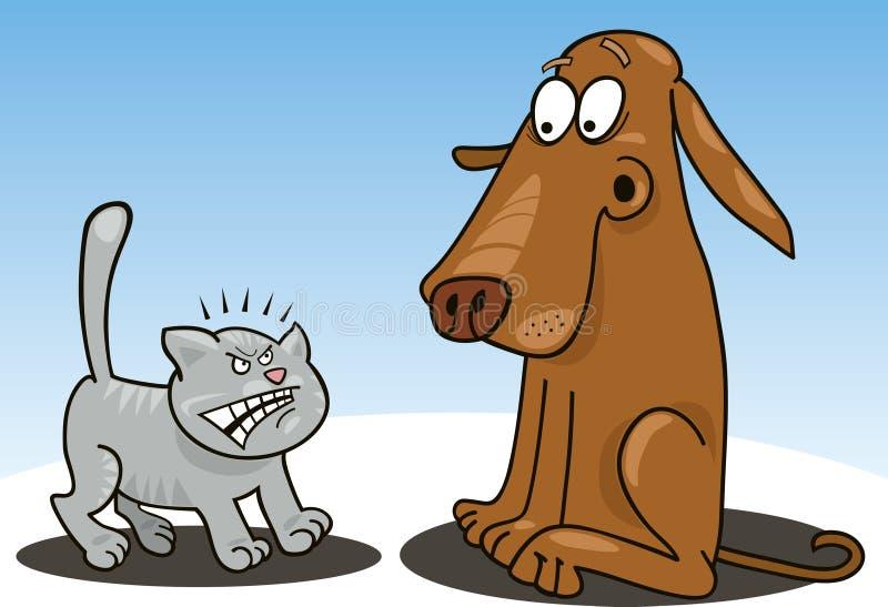 Gatito y perro ilustración del vector