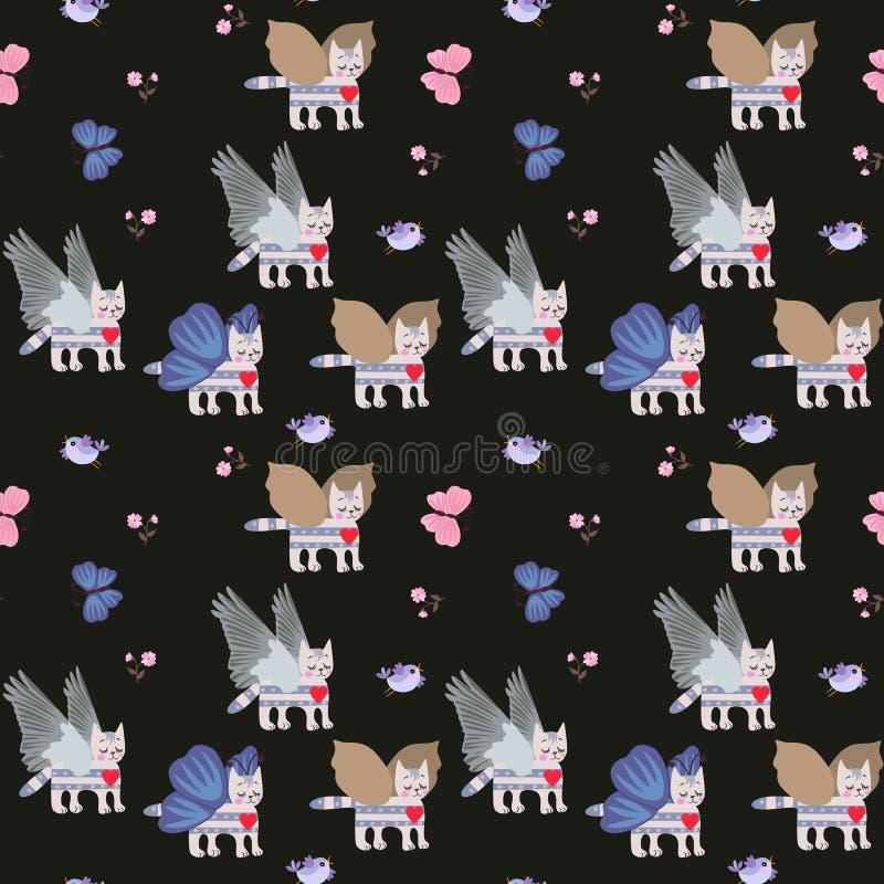 Gatitos cons alas del gato atigrado, peque?as flores y mariposas azules en el modelo incons?til del fondo negro para los ni?os ilustración del vector