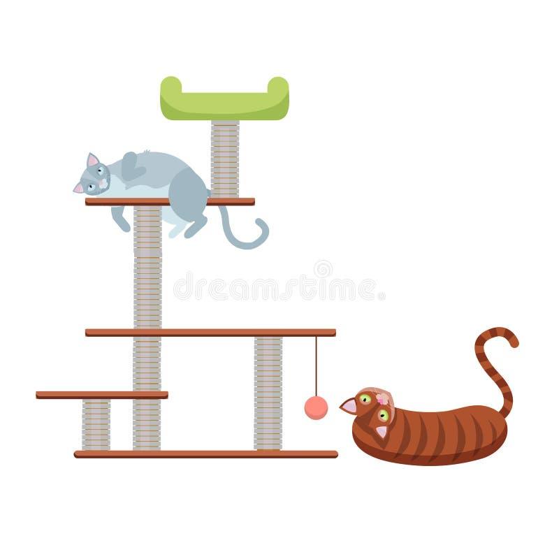Gatitos del gato atigrado en el poste de rasguño que rasguña la casa del gato del poste de la cuerda con el juguete de la bola de ilustración del vector