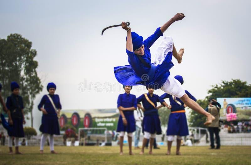 Gatka - uma arte marcial sikh fotos de stock royalty free