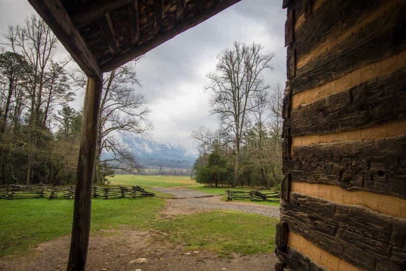 Gatlinburg Tennessee Smoky Mountain Cabin With una visión fotos de archivo