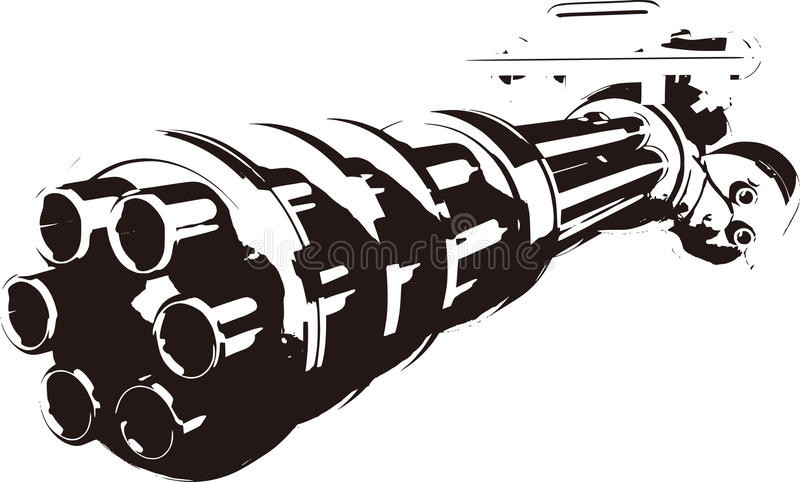 Gatling. This is a gatling of monochrome stock illustration