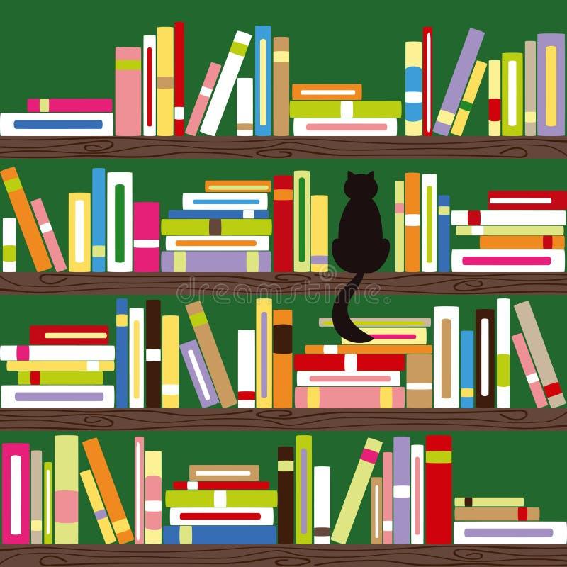 Gato abstracto con los libros coloridos en el estante libre illustration