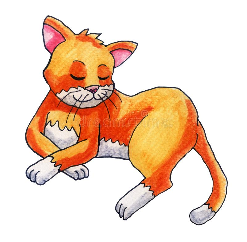 Gato adorável do sono da aquarela ilustração royalty free