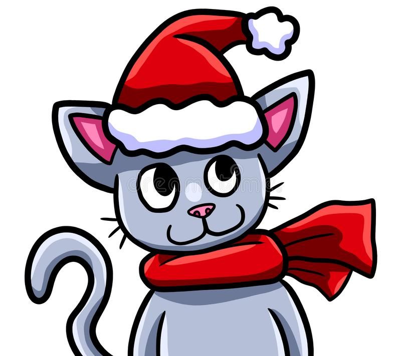 Gato adorável parvo do Natal feliz ilustração do vetor