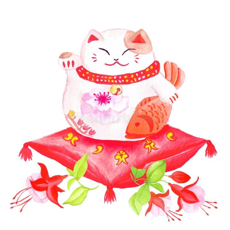 Gato afortunado chino que se sienta en la almohada roja con el fucsia y el wav ilustración del vector