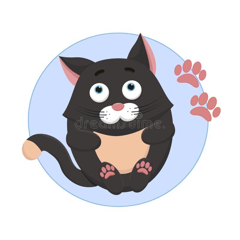 Gato agradável, bonito em um fundo azul ilustração do vetor