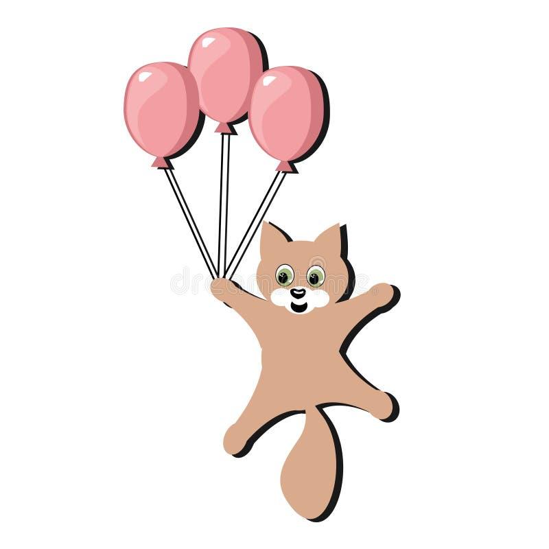 Gato agradável com balão ilustração royalty free