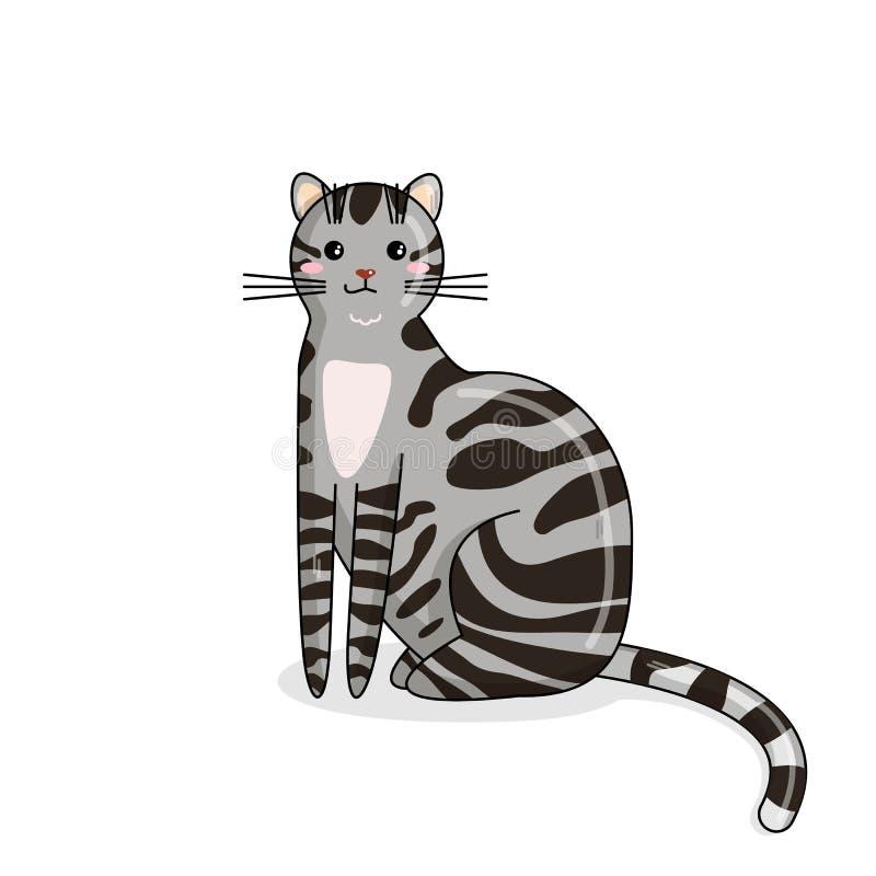 Gato americano del pelo del vector en el estilo de Kawaii stock de ilustración