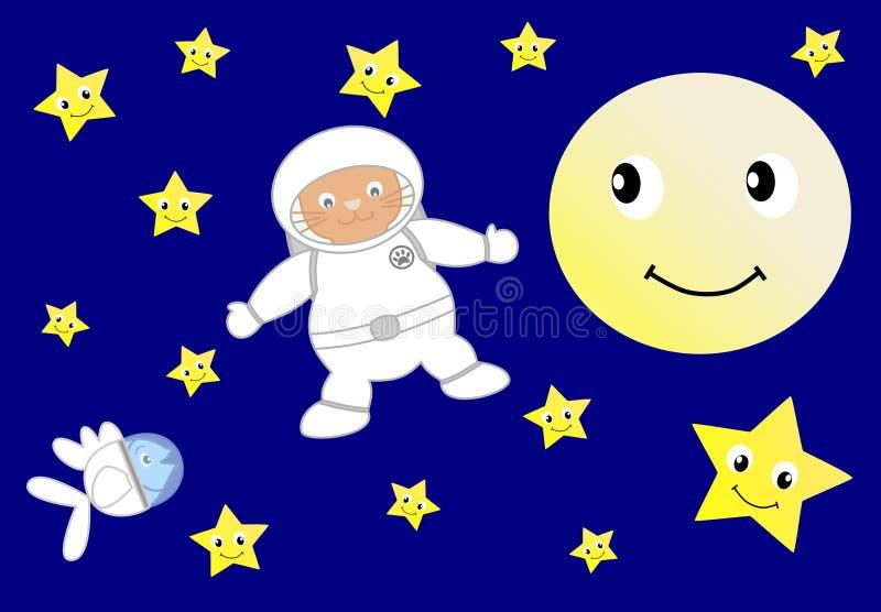 Gato anaranjado del astronauta con los pequeños pescados azules del astronauta stock de ilustración