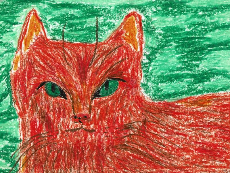 Gato anaranjado precioso con los ojos verdes libre illustration