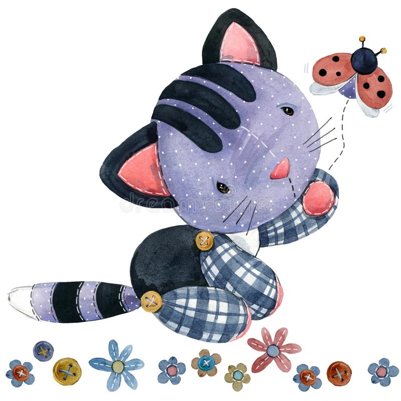 Gato animal del campo de la historieta ilustración del vector