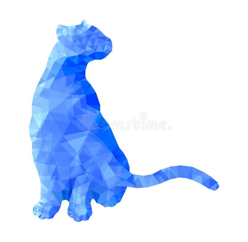 Gato animal poli que senta-se na ilustração abstrata poligonal azul do vetor ilustração stock