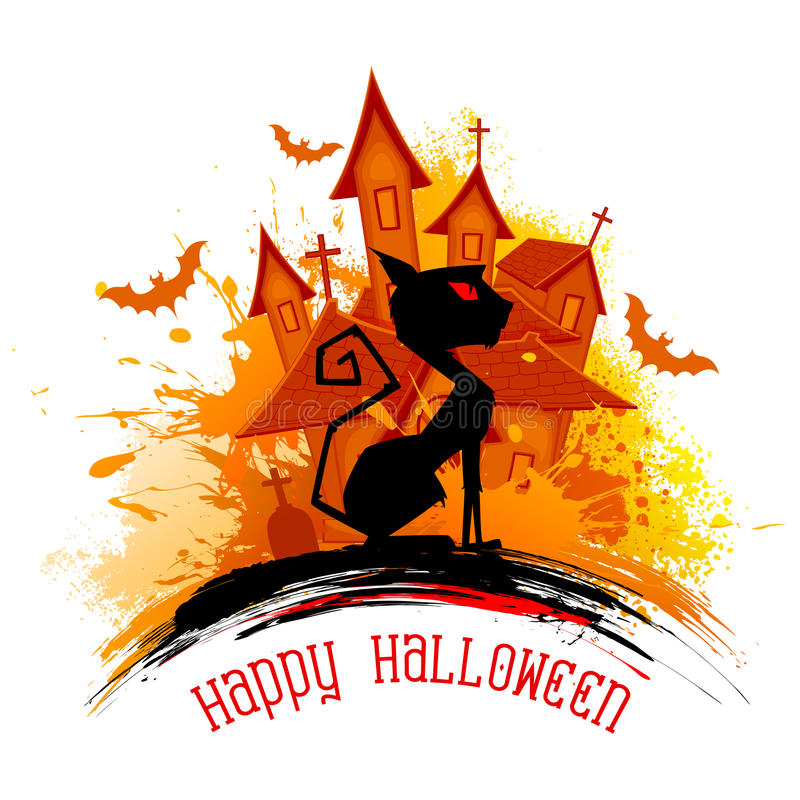 Gato assustador na noite de Dia das Bruxas ilustração royalty free