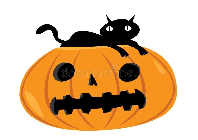 Gato asustadizo que descansa sobre una calabaza de Halloween stock de ilustración
