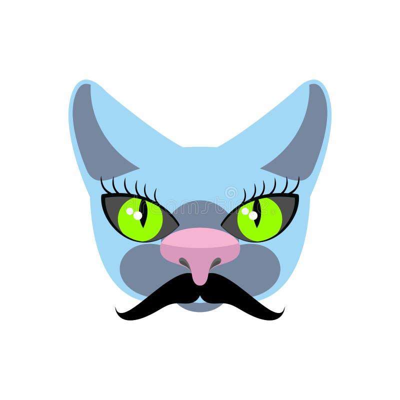 Gato azul con el bigote grande Inconformistas del animal doméstico Icono del vector, logotipo stock de ilustración
