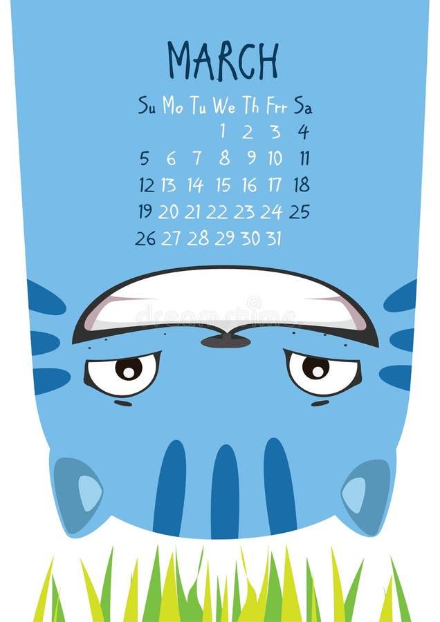 Gato azul de sorriso Calendário de março ilustração do vetor
