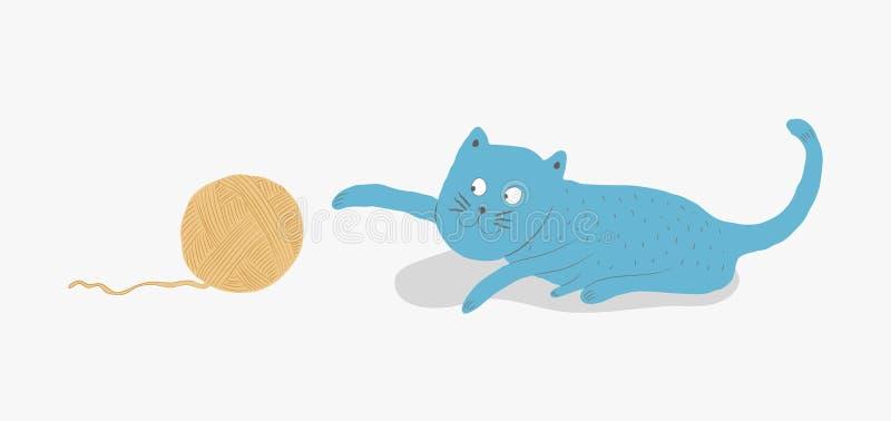 Gato azul que joga com uma bola do fio ilustração do vetor