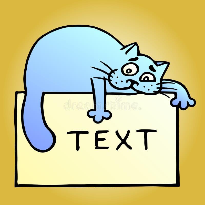 Gato azul y texto de la historieta en la hoja amarilla Ilustración del vector libre illustration