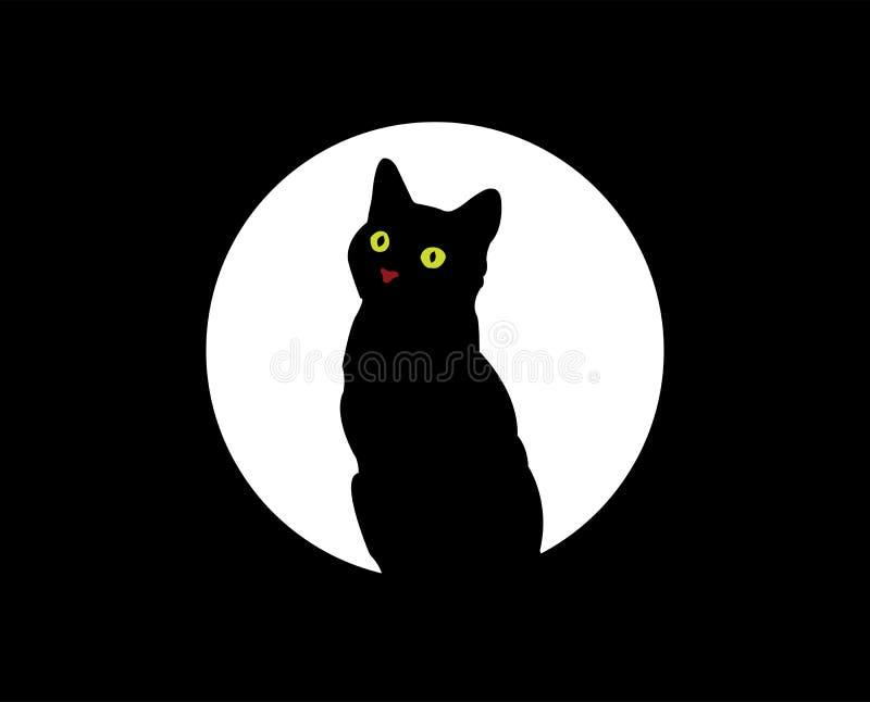 Gato bajo la luna stock de ilustración