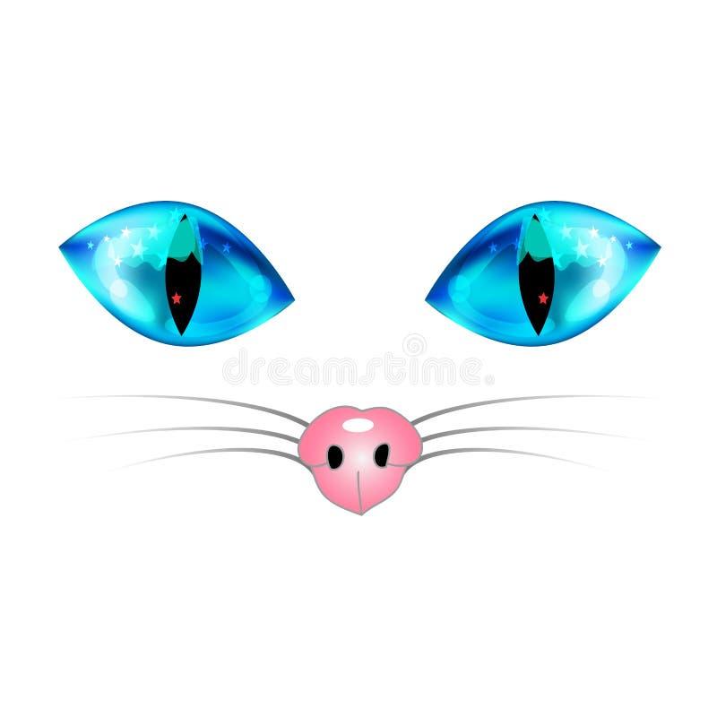 Gato blanco con los ojos azules, la nariz rosada y la barba del blanco Ilustración del vector stock de ilustración