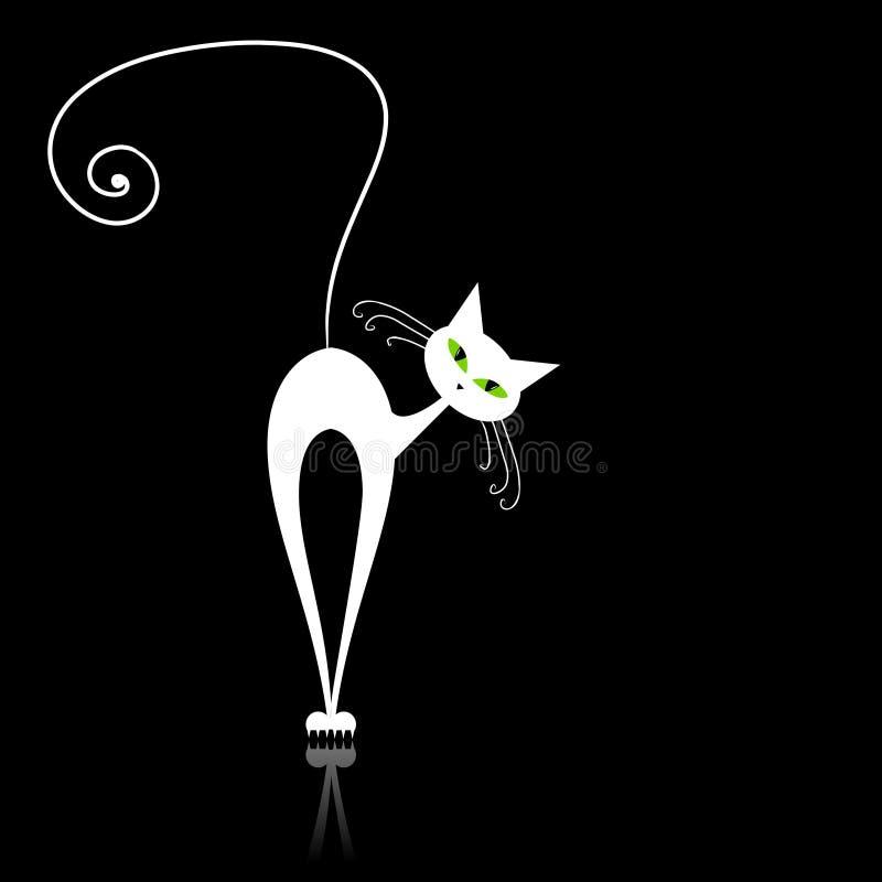 Gato blanco con los ojos verdes en negro stock de ilustración