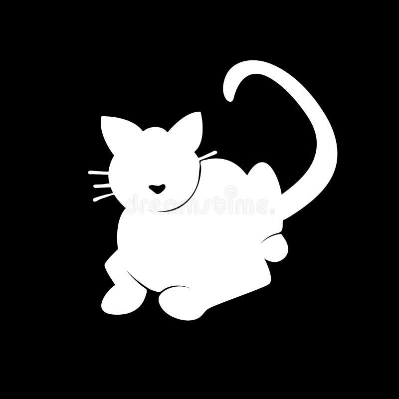Gato blanco de la silueta en fondo negro stock de ilustración