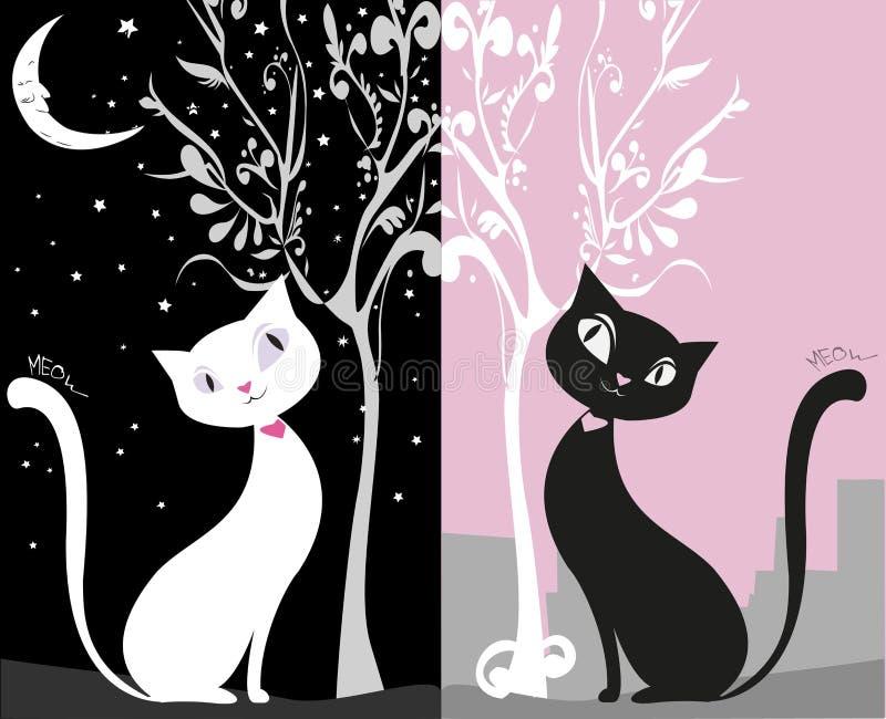Gato blanco en un cielo nocturno negro, día del gato negro en la ciudad, ilustración del vector