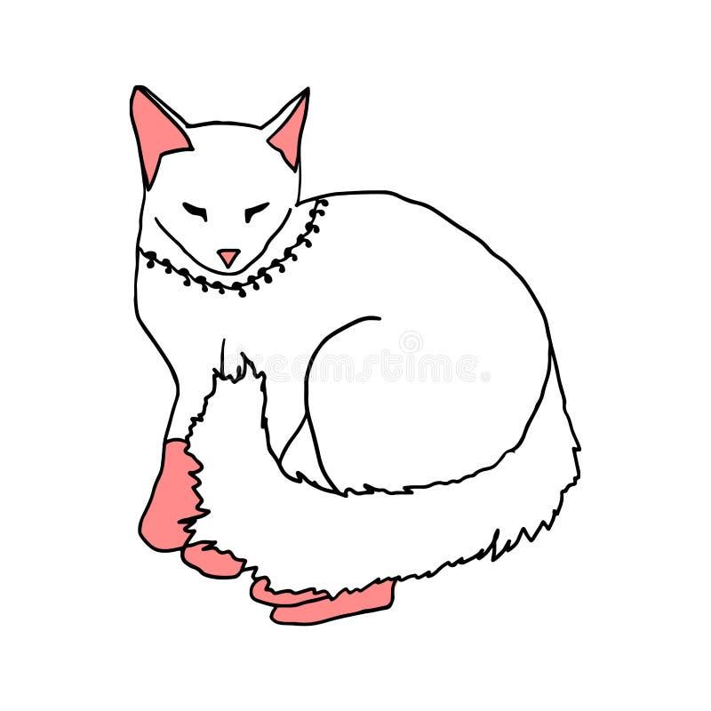 Gato blanco que duerme en el fondo blanco libre illustration
